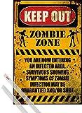 1art1 Poster + Hanger: Spaß Poster (91x61 cm) Zombie Zone, Eintritt Verboten Inklusive Ein Paar Posterleisten, Transparent