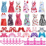 Asiv 36pcs Clothes Accessories for Doll, Fashion 12 Dresses + 12 Paris of Shoes + 12 Pink Hangers For Girls\' Christmas & Birthday Gift