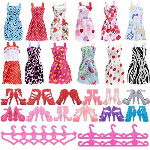 Asiv 12 Dresses, 12 Paris of Shoes, 12 Hangers Accessories for Barbie Dolls for Girls Gift (36 Pieces)