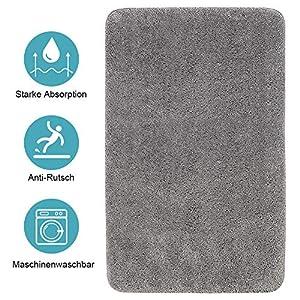 KINGOD Badematte, 50X80cm Badezimmerteppich Badteppich rutschfest Badvorleger Grau, Weich und Flauschig Textil, Waschbar TPR-Material auf der Unterseite, Badematten für Badezimmer Schlafzimmer