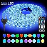 LED Ruban Multicolore - Bande Led 5M 5050 RGB,Bande Flexible Lumineux Strip Light IP65 3A 12V Avec 44 Touches Télécommande Infrarouge,Lumière d'Ambiance Décoration