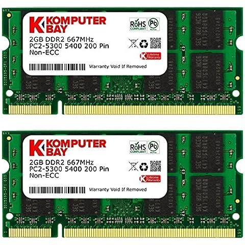 Komputerbay - Memoria SODIMM para portátiles (4 GB, 2 x 2 GB, DDR2, 667 MHz, PC2-5300, PC2-5400, 200