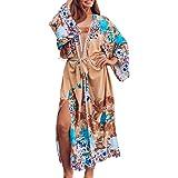 SIEBENEINSY Bañador de mujer bohemio para la playa, pareos, kimono, cárdigan, bata larga, blusa, bikini, capa vintage, traje