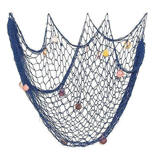 Lovetree Nautisches Fischernetz mit Muscheln, mediterraner Stil, Dekoration, blau, M(150 x 200cm)