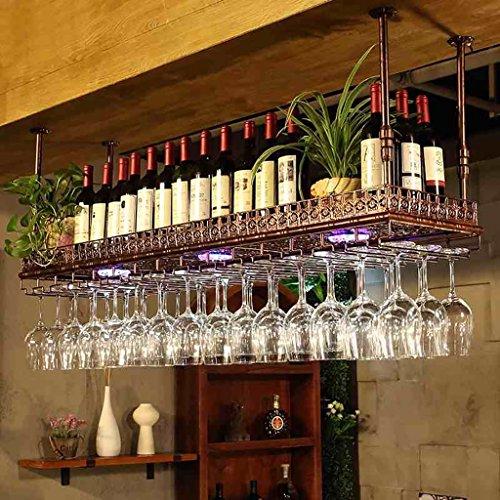 JU FU Weinregale - einfacher Stil Eisen hängenden Weinglas Rack Decke Dekoration Regal für Bars, Restaurants, Küchen [2 Farbe 4 Größe] | (Farbe : Bronze, größe : 60x35cm)