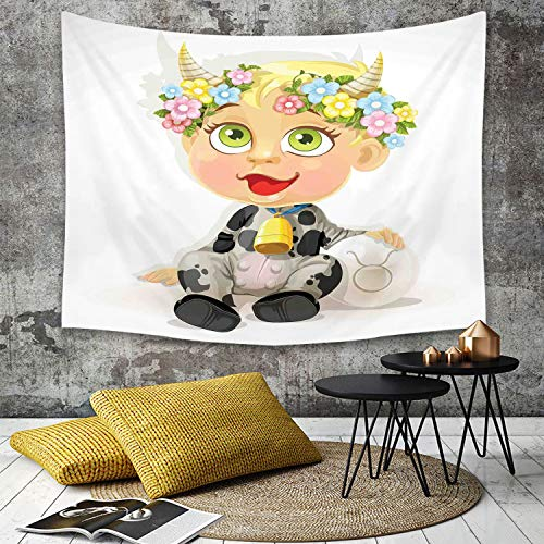 Tapestry, Wall Hanging, Sternzeichen Stier, Happy Baby mit kleinen Hörnern und Blumen Kuhglocke und Kostüm Kind,wall hanging wall decor, Bed Sheet, Comforter Picnic Beach Sheet home décor 150 x 200 cm -