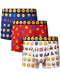 IMTD 3pairs Mens Novelty Emoji Faces Gift Idea Design Cotton Lycra Boxer Shorts Underwear Trunks S-XL