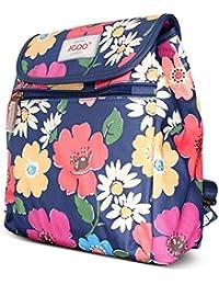 BELK Girl's Travel in England Vintage Floral Series Blue Background Print Canvas Handle Shoulder Bag/Backpack For Girls Satchel