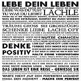 Deko-Panel, Live your life, Text, Sprüche, Bild, Wandbild, Wandpaneel, Wanddekoration, Wandgestaltung, Kunstdruck, 50x50 cm, schwarz, weiß, weiss