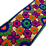 Multicolor bordado ajuste floral cinta del arte 9,65 cm de ancho de la frontera por 1 yarda