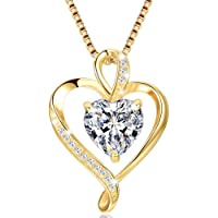 Herzkette 925 Silber Rosegold Gold Damen Halskette - Herz Silber Saphir Amethyst änhänger Kette Damen Geschenk für Frau…
