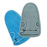 2x Beauty Peeling-Handschuh aus Naturfasern - für Körperpeeling, Hamam, Wellness & Body scrub - wirkt effektiv gegen unreine & trockene Haut, Mitesser und Pickel - eignet sich als Massagehandschuh (Blau / Grau)