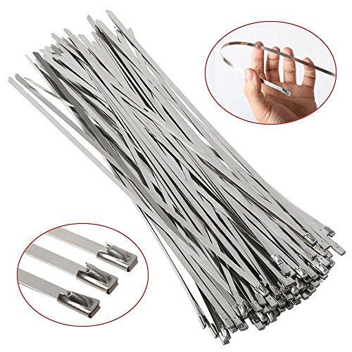 Preisvergleich Produktbild Yahee 100 Stück Metallkabelbinder 300mm Kabelbinder Stahlband Edelstahl Hitzeschutzband Auspuffband
