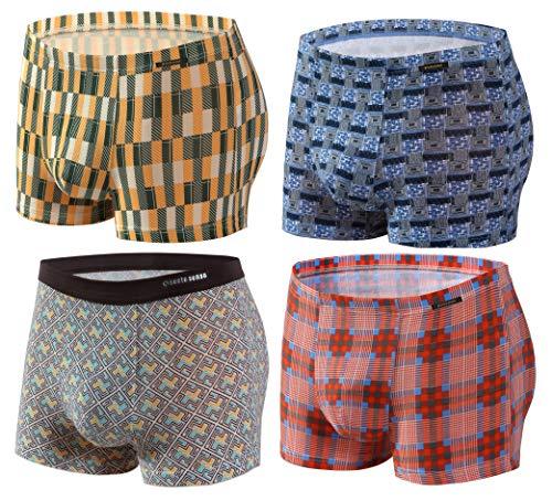 Sesto Senso® Herren Boxershorts Bambusfaser Multipack 1, 2 oder 4 Stück Jugend Retroshorts Micro Modal Unterhosen Unterwäsche Funky (L, 4 Pack 1-4) - Micro-herren-shorts