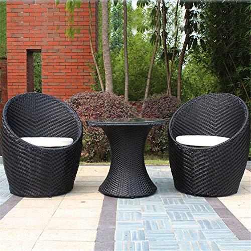 RBH Garden Wicker Chair dreiteilig, Patio-Gartenmöbel mit Couchtisch und Kissen, Tischplatte aus gehärtetem Glas für den Hinterhof Balkon -