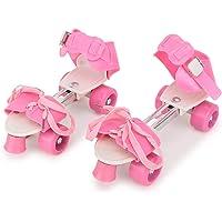 CADDLE & TOES Basics Adjustable Roller Skates 4 Wheel Skating Shoes for Kids Age Group 5-12 Years (Multi Color) (Pink)