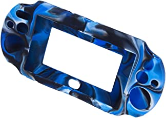 Imported Camo Silicone Protective Case Cover for Sony PlayStation PS Vita 2000 PCH-2000 - Navy with Black