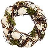 Heitmann Deco - romantischer Wandkranz aus Weide - dekoriert mit Kunststoff-Eiern, Holz-Blumen, Deko-Beeren und -Gras