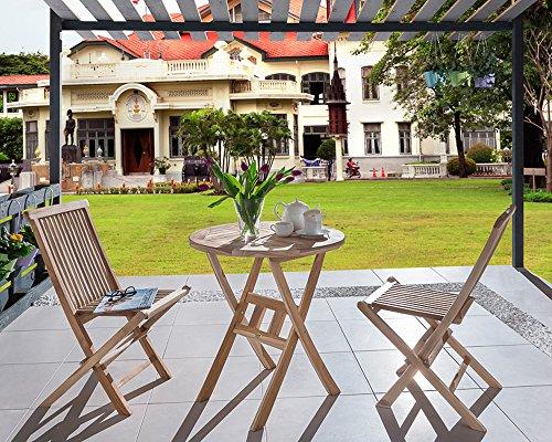 SAM® SAM 3-tlg. Balkongruppe Romana, Teak-Holz, 1x Tisch rund 70 cm + 2x Klappstuhl Menorca, Gartengruppe klappbar