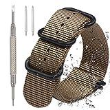 Nylon Uhrenarmband - Wasserdicht Armbanduhr Band mit 1,5 mm Dicke Qualität Nylon Schultergurt und 5 Ringe schwere Edelstahl Stahl Schnalle + Spring Bar Werkzeug zum Entfernen – [Wahl der 20 mm, 22 mm oder 24 mm]
