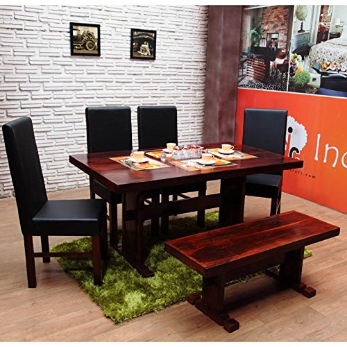 INDUSCRAFT TABLE BENCH CONTEMPORARY WOODEN DINING SET  available at amazon for Rs.39999
