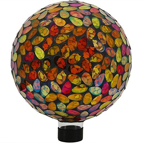 Sunnydaze Mosaic Glass Gazing Globe Ball, 10-Inch, Gold