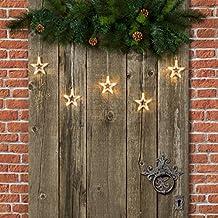 Mini cortina 100 x 40 cm, 5 estrellas LED luz cálida, cableado transparente, a pilas, luces de Navidad, cortina de luces