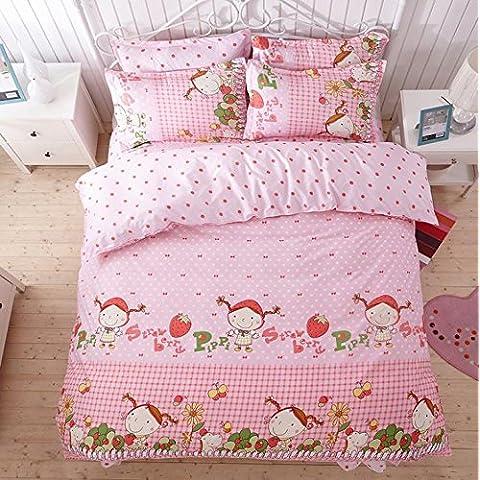 SUNGH Ragazza rosa fragola, biancheria da letto copripiumino set di quattro serie, stampato poliestere copripiumino set copripiumino dimensione King/Queen/twin federe foglio due letto , queen