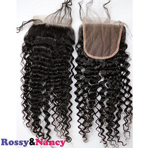 Rossy Nancy Curly Hair 4x4'' Bleached Knots Closure Kinky Curly 8-18'' Human Hair Lace Closure With Baby Hair