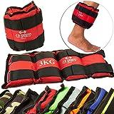 C.P. Sports 2er Set Gewichtsmanschetten für Hand- und Fußgelenke, 2x 0,5kg – 2x 1kg - 2x 1,5kg - 2x 2kg - 2x 2,5kg - 2x 3kg-2x 4kg-2x 5kg-2x 6kg - Gewichte für Arme und Beine Gewichtsmanschette (1 Kg - Paar)