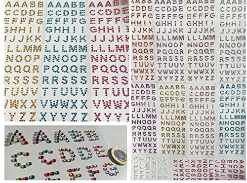 180pezzi lettere in diversi luccicanti strass autoadesivo ABC Alfabeto Lettere basteln Sticker gltzer pietre gioielli pietre Strass Mix Cuore Rotondo Quadrato Goccia per decorare i Crystal King Gold / Gelb