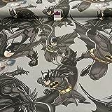 Midtex Grau 100% Baumwolle DC Wunder Comic Batman Dark