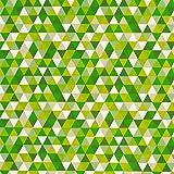 Dekostoff Zacken Dreieck grün gelb