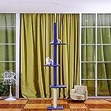 MERRYHOME Gatto albero pavimento al soffitto 230-286 centimetri regolabile alta Beige/blu di legno solido gatto graffiatore pet giocare Strumenti divertenti