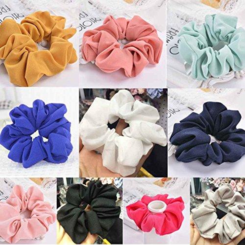 Mengonee Women Elastic Chiffon Hair Bands Scrunchie Hair Tie Ring Rope Ponytail Donut Grip Loop Holder Stretchy Hairband