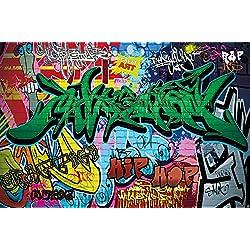 Papier peint du style de rue décoration de peinture murale de graffiti style de photo pop art lettrage comique abstrait urbaine mur d'écriture | murale photo mur deco chez GREAT ART (210x140 cm)