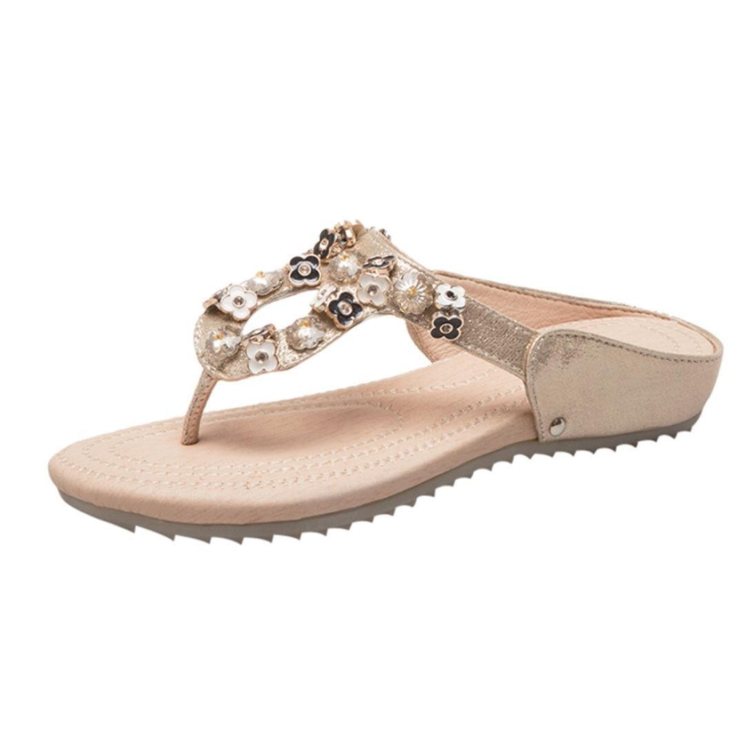Women Sandals Women Summer Bohemia Flip Flop Shoes Flower Rhinestone Flats Elegant Beach Shoes