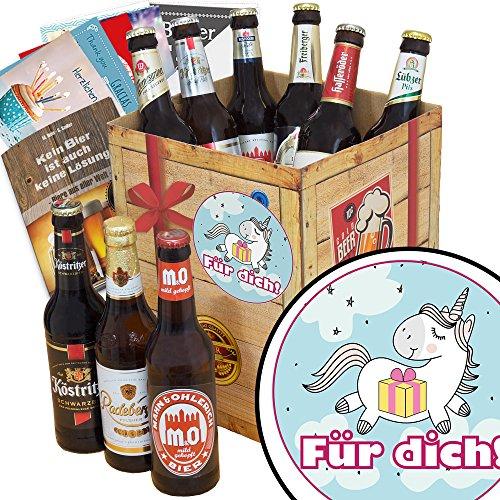 Für Dich (mit Einhorn) | Geschenk Box Bier | Bierbox DDR | Für Dich (mit Einhorn) | Bier Paket |...