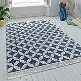 Paco Home Teppich Wohnzimmer Kurzflor Kreise Batik In Blau Grau Modern Retro Optik, Grösse:160x230 cm