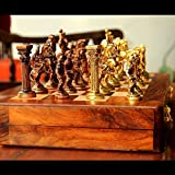 Unravel India Roman Brass Chess Set with wooden board