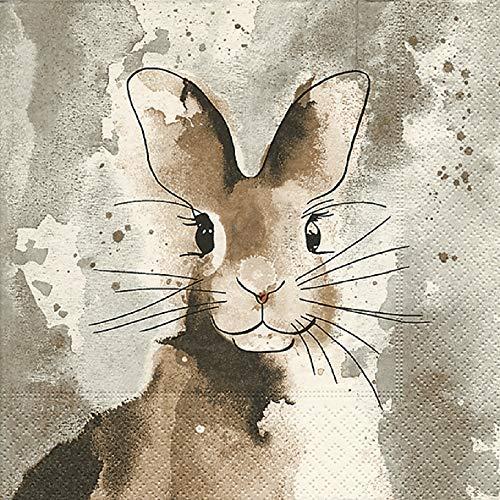 Home Collection Servietten (3er Set / 60Stück) 3-lagig 33x33cm Ostern Watercolour Bunny Hase