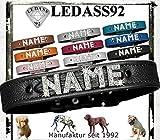 LEDASS92 Hundehalsband mit Namen Strass Halsband Name Strassbuchstaben Swarovski Elements (L - 35cm - 43cm Halsumfang verstellbar, schwarz)