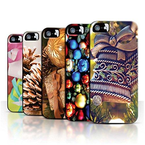 Stuff4 Hülle / Case für Apple iPhone 5/5S / Baum Dekorationen Muster / Weihnachten Foto Kollektion Pack 5pcs
