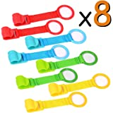 8x Ringe für Babybett und Park, Ringe für das Training mit Das Gleichgewicht, ideale für helfen Das Kind zu aufstehen des Wiege (rot, blau, grün, gelb) vooa