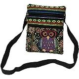 YLWL Lässige Damen bestickte Eule Print Taschen Frauen Reißverschluss Umhängetasche Handtaschen Grüne und Schwarze Eule