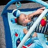 Baby Spielbogen Activity Center & Blau Groß Spielmatte mit Meer Motiv Zubehör • Aktivitäten decke für Junge & Mädchen • Spielwiese für Säugling Kleinkind • Einstellbare Höhe • Lebensdauer Guarantee