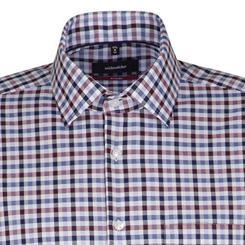 Seidensticker Herren Businesshemd Modern Langarm mit Kent-Kragen Bügelfrei Struktur Mehrfarbig (Rot 44)