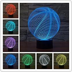 Baloncesto 3d Lámpara LED óptico Engaños Luz Nocturna, Yunplus 7 Cambio de Color Con Acrílico Flat & ABS Base & USB Cargador de Cambiar Toca Lámpara de Escritorio Lámpara de Mesa