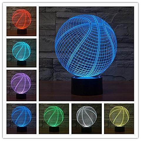 Sportart Korbball 3D Lampe Optische LED Täuschung Nachtlicht,HAIYU 7 Farbwech mit Acryl Flat & ABS Base & USB-Ladegerät ändern Berühren Sie Botton Schreibtisch lampe Tischleuchte
