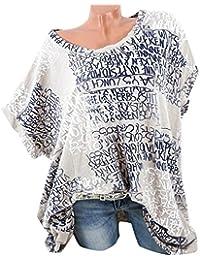 VJGOAL Damen T-Shirt, (S-5XL) Lose Tops Damen Mode Kurze Fledermaus Ärmel Bluse Casual Brief Print Pocket Sommer T-Shirts